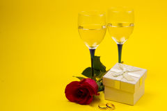 Two glasses with vine and  roses Royalty Free Stock Image