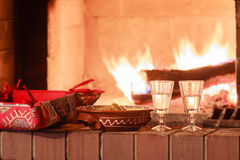 Two glasses of vodka at firewood oven background Royalty Free Stock Images