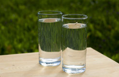 Two glasses of water on  grass background. Two glasses of сrystal clear water placed on a wooden surface on green grass background. Drops of water run down a Royalty Free Stock Photography