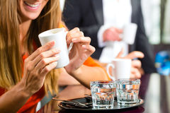 Two glasses of water placed on a tray Stock Photo