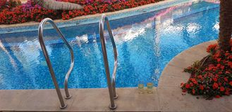 Two glasses of white vine stand by the swimming pool stock photo