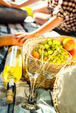 Two glasses, white wine and grapes, picnic theme Royalty Free Stock Photography