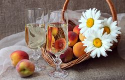 Two glasses of white wine Royalty Free Stock Images