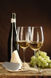 Two glasses of White Wine, Riesling Stock Photo