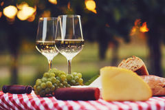 Two glasses of white wine at sunset. Two glasses of white wine with food at sunset, toned Stock Images