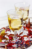 Two glasses of white wine on a vintage silver tray decorated with autumn grape, leaves and raspberries, romantic picnic Royalty Free Stock Image