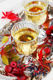 Two glasses of white wine on a vintage silver tray decorated with autumn grape, leaves and raspberries, romantic picnic Stock Images