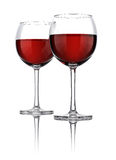 Two glasses of wine. 3d render Royalty Free Stock Photo