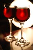 Two glasses with wine. Two glasses with red wine Stock Photos