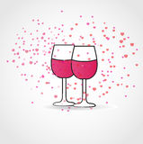 Two glasses of wine. Whit hearts Royalty Free Stock Photo