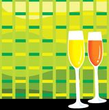 Two glasses of wine. In colourful background Royalty Free Stock Photo