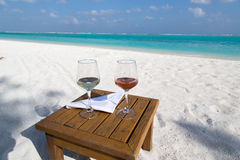 Two Glasses of Wine at the Beach Stock Photos