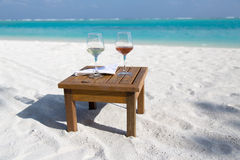 Two Glasses of Wine at the Beach Royalty Free Stock Image
