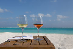 Two Glasses of Wine at the Beach Stock Images