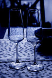 Two glasses of wine in the blue shade Stock Image