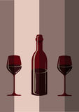 Two glasses of wine and bottle. Vector illustration Stock Image