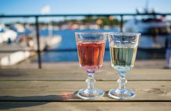 Two glasses of wine in a cafe Royalty Free Stock Images