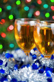 Two glasses of wine at Christmas time Stock Photos