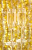 Two glasses of wine with a festive situation Royalty Free Stock Photos