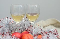 Two glasses of wine, fruits and decoration Stock Images