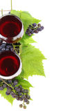 Two glasses of wine and grapes Royalty Free Stock Photos