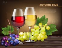 Two glasses of wine and grapes vine Vector realistic royalty free illustration