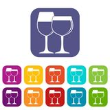 Two glasses of wine icons set flat Royalty Free Stock Photos