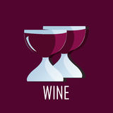 Two glasses of Wine - party logo design. Trendy modern Logo design of glasses of wine Stock Photography