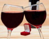 Two glasses of wine on  wooden background Stock Image