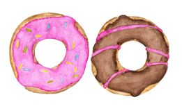 Two glazed donuts with pink and chocolate topping isolated on white background. royalty free illustration