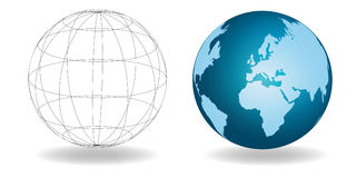 Two Global Worlds. One clear showing structure, the other showing cartography - side by side, isolated on a white background Royalty Free Stock Images
