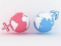 Two globe with male and female sign. 3D image. Two globe with male and female sign on white. 3D image Royalty Free Stock Image