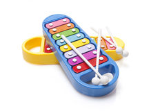 Two glockenspiels toy. Two soft colour cubes on white background Stock Photo