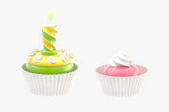 Two glossy cakes isolated Stock Image