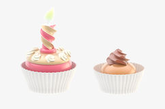 Two glossy cakes isolated Royalty Free Stock Image