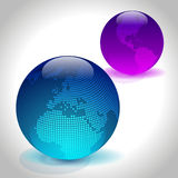 Two glossy globes. Set of colored globe glass icons. Vector Illustration Stock Photos