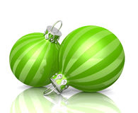 Striped green baubles Stock Photography