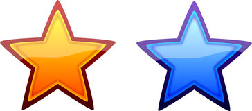 Orange and Blue Stars. Two orange and blue glossy stars isolated on a white background Royalty Free Stock Image