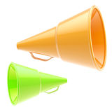 Two glossy orange and green loudspeakers isolated Royalty Free Stock Photo