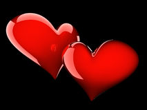 Two glossy red hearts Stock Photography