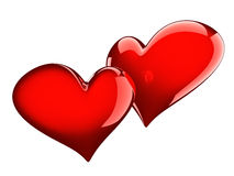 Two glossy red hearts Stock Photo