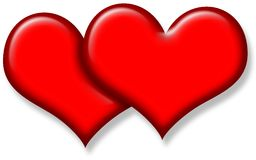 Two Glossy Red Hearts Royalty Free Stock Images