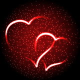 Two glowing heart,valentine background Royalty Free Stock Photo