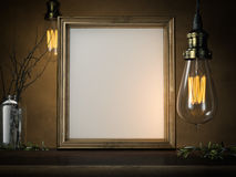Two glowing vintage bulbs and blank golden frame. 3d rendering Stock Photos
