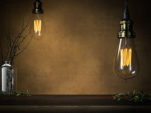 Two glowing vintage bulbs and empty table . 3d rendering Royalty Free Stock Photo