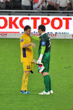 Two goalkeepers talk after  the match Stock Photo
