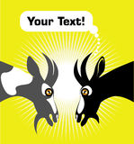 Two goats. On yellow background with text Royalty Free Stock Image