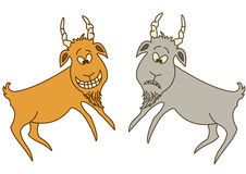 Two goats: cheerful and sad. Rock painting of the ancient artist: two goats - sad and cheerful Royalty Free Stock Photos