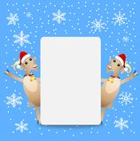 Two goats in christmas caps and clean banner Royalty Free Stock Image