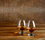 Two goblets of brandy Stock Photography